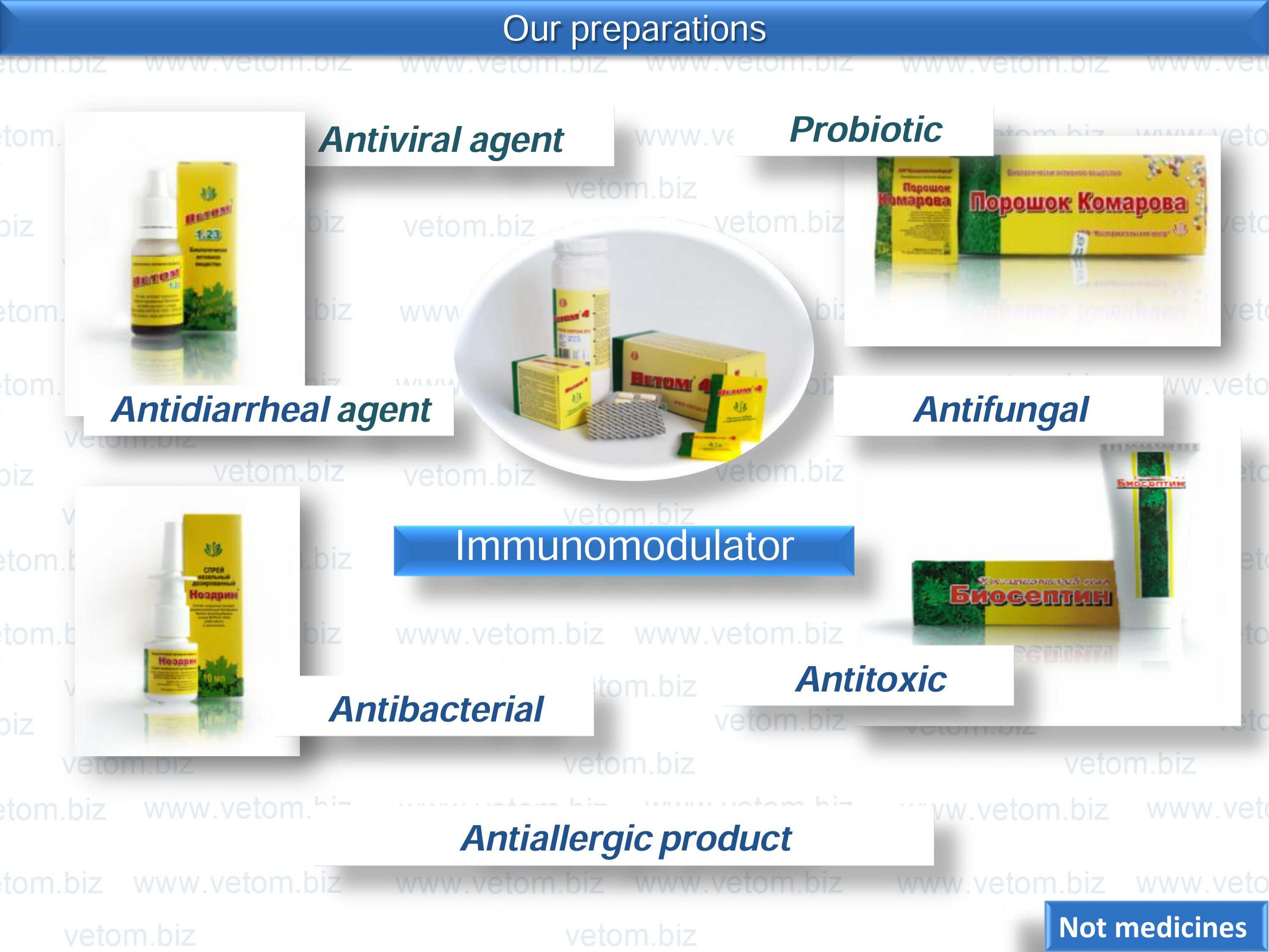 Our preparations have probiotic, antifungal, antibacterial, antitoxic and are  antiviral agent, antidiarrheal agent, antiallergic product, immunomodulator